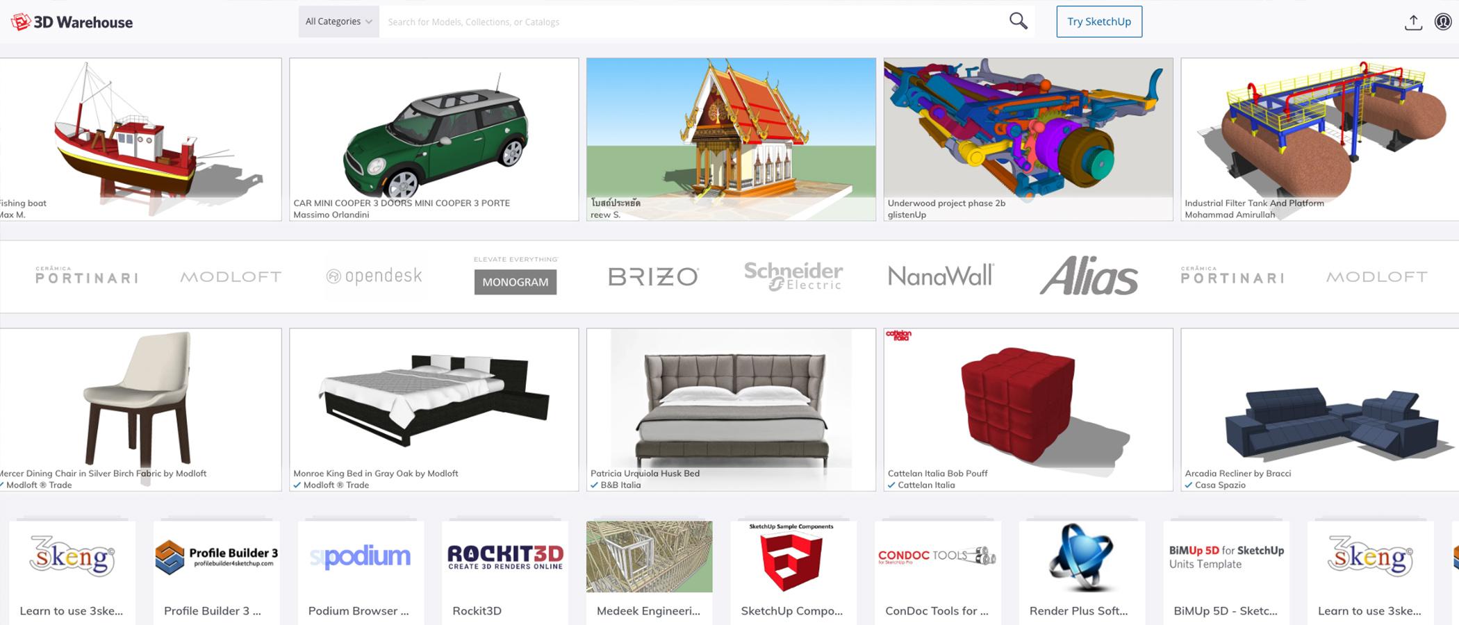 3D Warehouse | Biblioteka modeli 3D | SketchUp